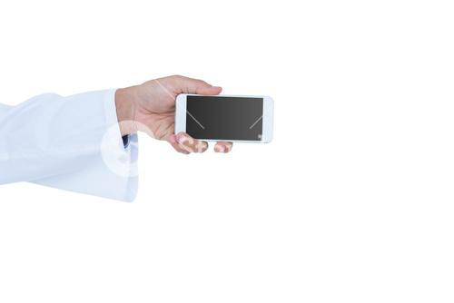 Doctor holding a mobile phone