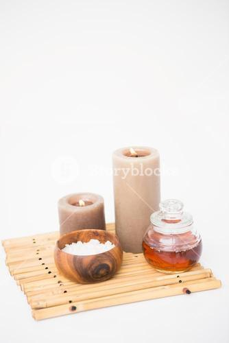 Perfumed candles and beauty products