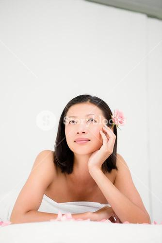 Relaxed woman on the massage table