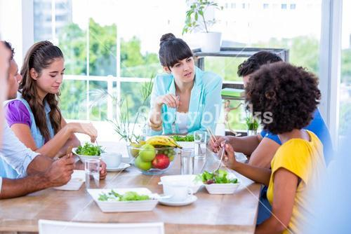 Group of friend eating together