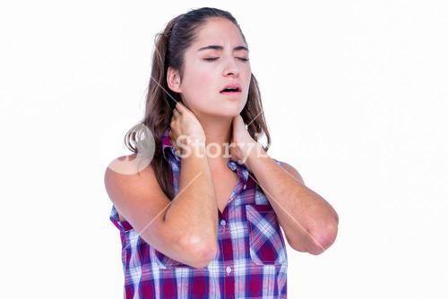 Pretty brunette with neck pain