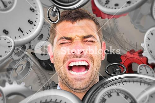Composite image of businessman screaming
