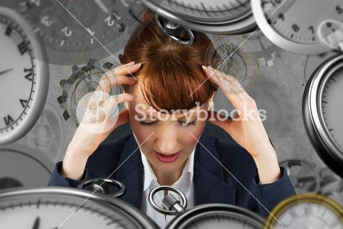 Composite image of stressed businesswoman
