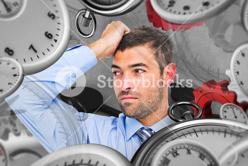 Composite image of businessman thinking his hand up