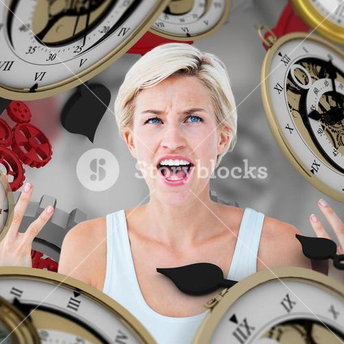 Composite image of angry blonde yelling with hands up