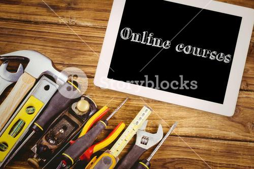 Online courses against tools on desk