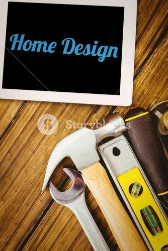 Home design against desk with tools