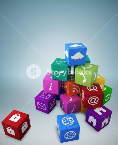 Composite image of pile of apps