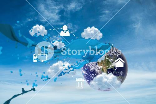 Composite image of cloud computing graphic with paint splash