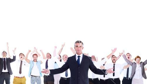 Composite image of businessman in suit spreading his arms