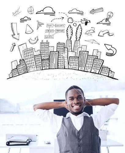 Composite image of cityscape with brainstorm doodle