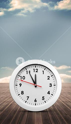 Composite image of countdown to midnight on clock