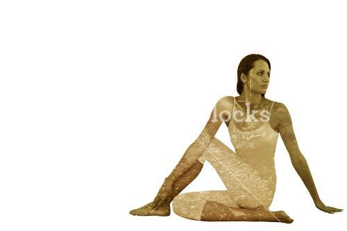 Composite image of fit woman doing the half spinal twist pose in fitness studio