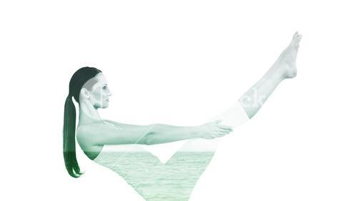 Composite image of toned woman doing the boat pose in fitness studio