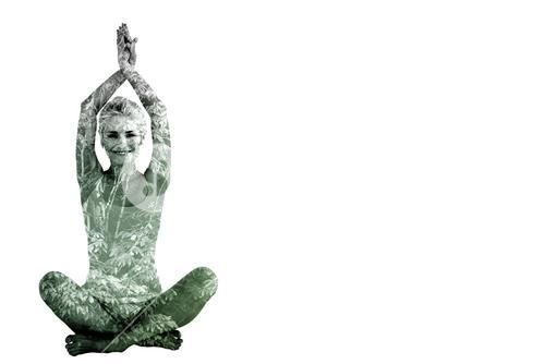 Composite image of sporty woman sitting in namaskar pose with twisted hands