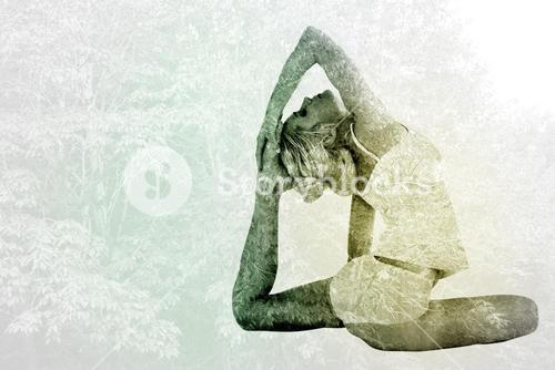 Composite image of toned young woman doing the pigeon pose