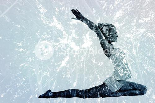 Composite image of toned young woman stretching hands backwards