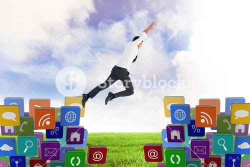Composite image of flying businessman