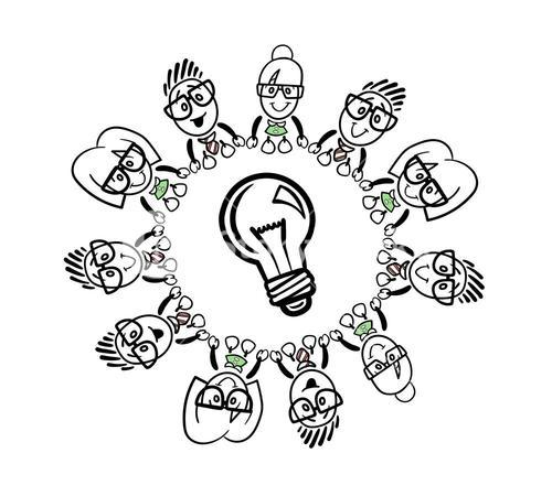 Cute cartoon business people connecting around a bulb