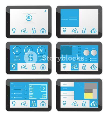 Home security app interface on tablet screen