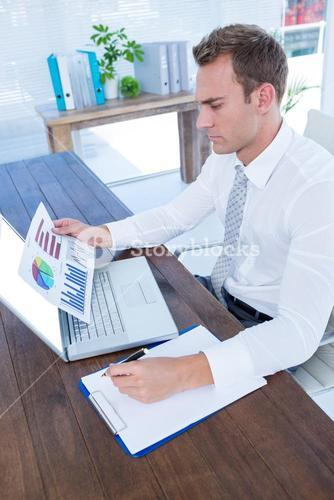 Attentive businessman working with flow charts