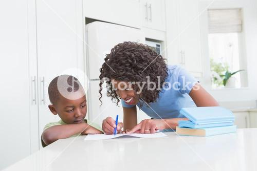 Mother with his son working