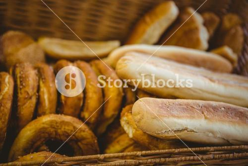 Close up of basket with fresh bread