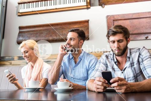 Colleagues working with smartphones