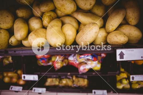 Potato shelf at the supermarket