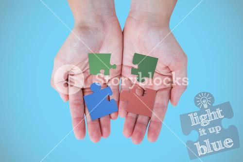 Composite image of hands showing
