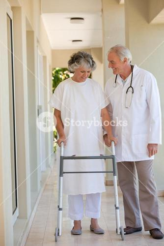 Doctor walking with his patient