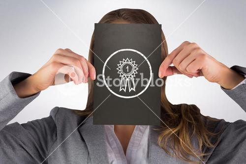 Composite image of businesswoman showing card