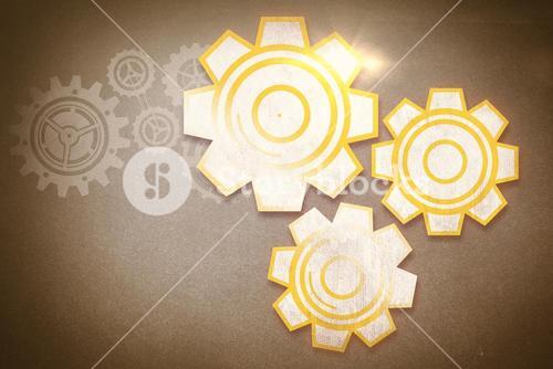 Composite image of cog and wheel