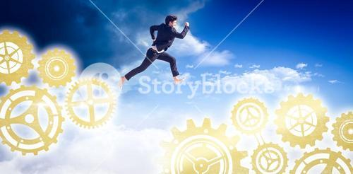 Composite image of businessman leaping
