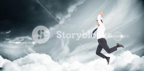 Composite image of jumping businessman