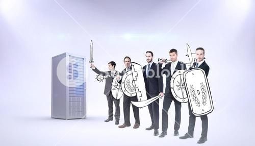 Composite image of corporate army