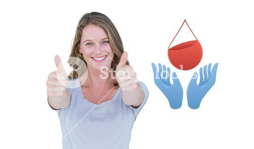 Composite image of woman showing thumbs up