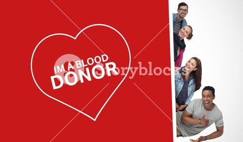 Happy friends advertising blood donation