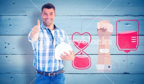 Composite image of confident manual worker gesturing thumbs up