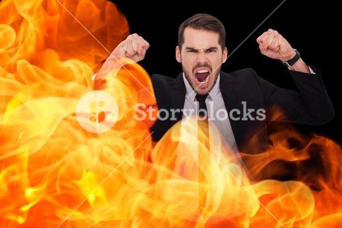 Composite image of furious businessman tensing arms muscle