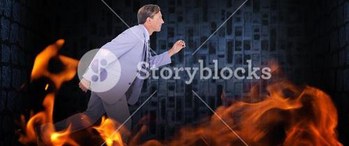 Composite image of stepping businessman