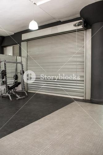 Exercise room with shutters
