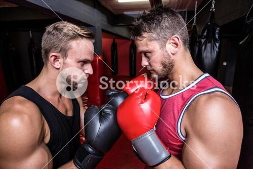 Two boxing men exercising together