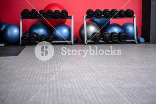 Weights room with exercise balls