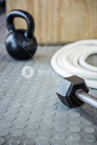 Close up view of excercise equipment on the floor