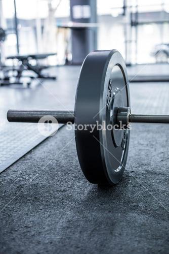 Close up view of barbell