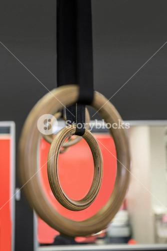 Close up view of gymnastic rings
