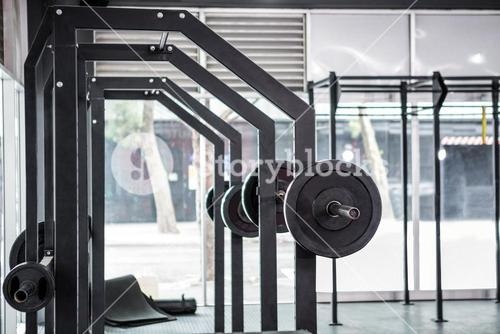 Side view of barbells