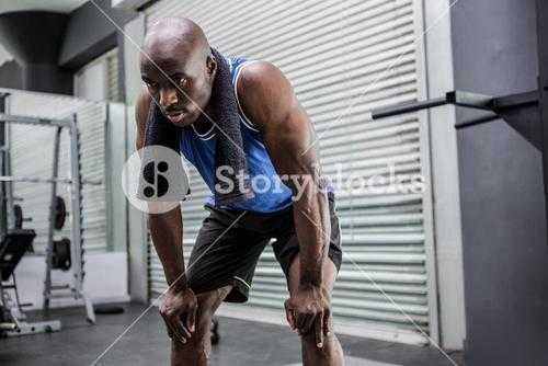 Young Bodybuilder looking exhausted