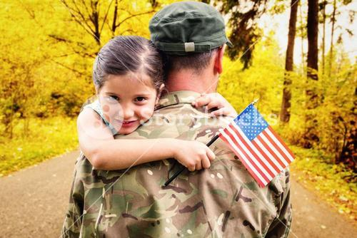 Composite image of soldier reunited with his daughter